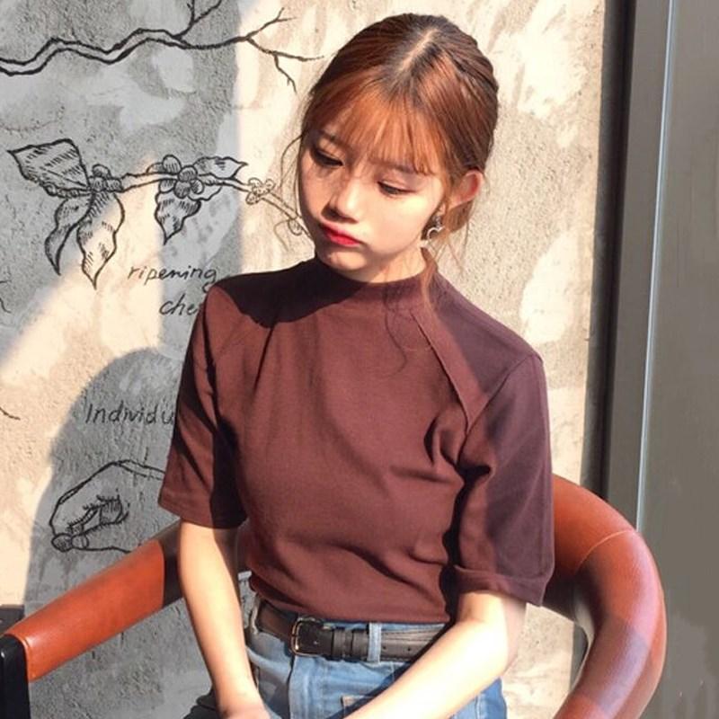 磨毛短袖T恤女春夏新款韩版纯色百搭修身显瘦立领上衣打底衫学生