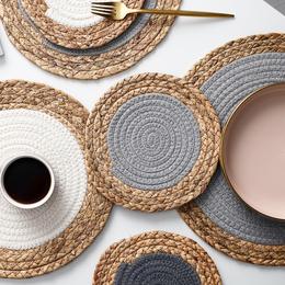 熊谷组北欧风餐桌垫编织隔热垫家用西餐垫防烫锅垫茶杯垫圆形盘垫