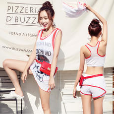 2018 new female swimwear split student boxer sports sunscreen conservative swimwear three-piece Korean women swimwear