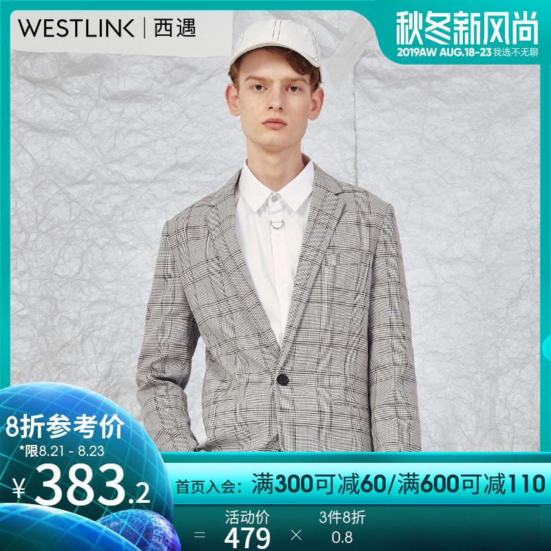 西遇2019秋季新款男装格子开叉修身韩版外套休闲西装男潮11592488