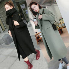 Woolen coat female long section Korean version 2017 autumn and winter new Slim over knee thicken student wool coat female