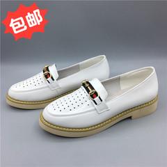 品牌撤柜清仓特价断码真皮女鞋春夏季舒适百搭低跟打孔透气单鞋