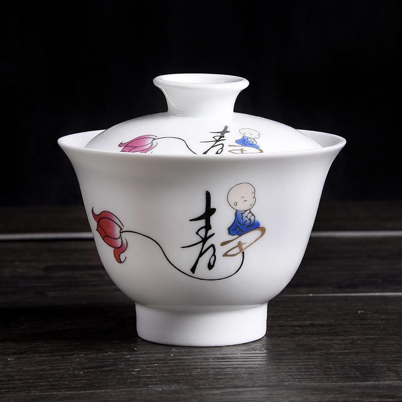 白瓷小和尚童子款3.6寸单盖碗搭配陶瓷茶具新颖禅意 彩绘新品包邮