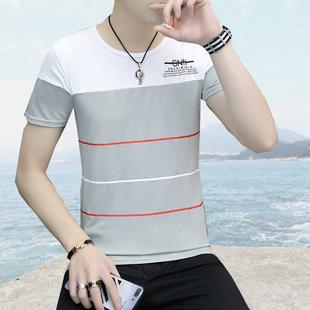 夏季短袖T恤男青少年装冰丝半袖学生韩版修身印花拼接上衣2019潮