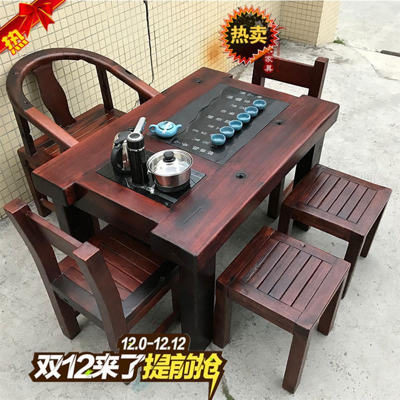 老船木茶桌茶具套装桌子一体实木户外休闲龙骨椅茶台古船木茶几