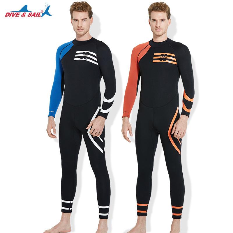 高弹力潜水服3MM保暖防晒潜水衣连体长袖浮潜冲浪冬泳衣