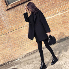 Small woolen coat female 2017 autumn and winter new Korean version of the Sen short short thick black double-sided woolen coat