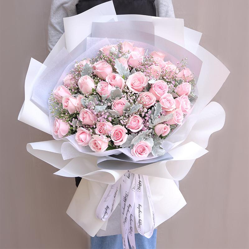 泰安鲜花速递红玫瑰混搭绣球泰山肥城岱岳新泰东平同城生日送花店