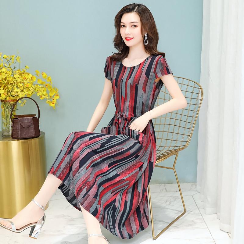 妈妈夏装加肥加大连衣裙长款中老年女装印花棉裙子短袖棉绸40岁
