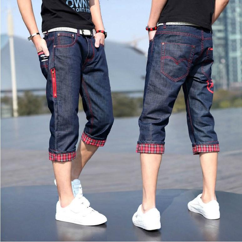 夏季男装牛子短裤韩版修身中裤直筒宽松学生牛仔裤男纯蓝色七分裤