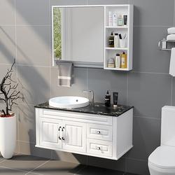 橡木浴室柜卫生间洗漱台实木卫浴柜落地式现代洗脸洗手台盆柜组合