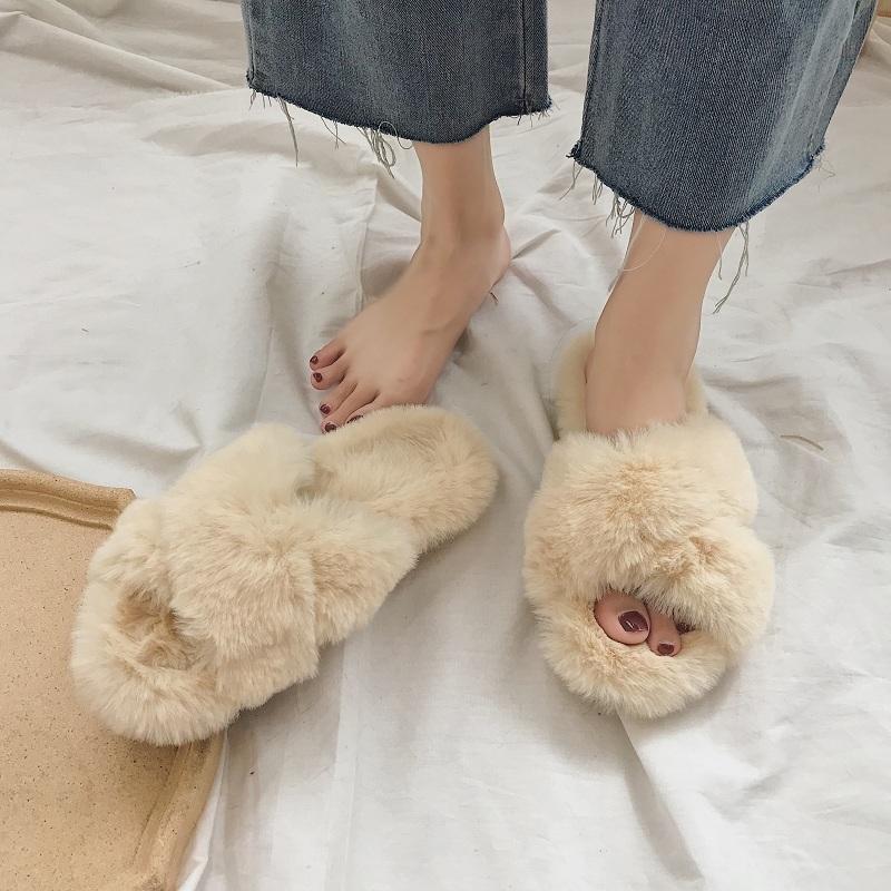 毛毛拖鞋女外穿2018秋冬新品一字毛毛时尚网红休闲百搭半拖穆勒鞋