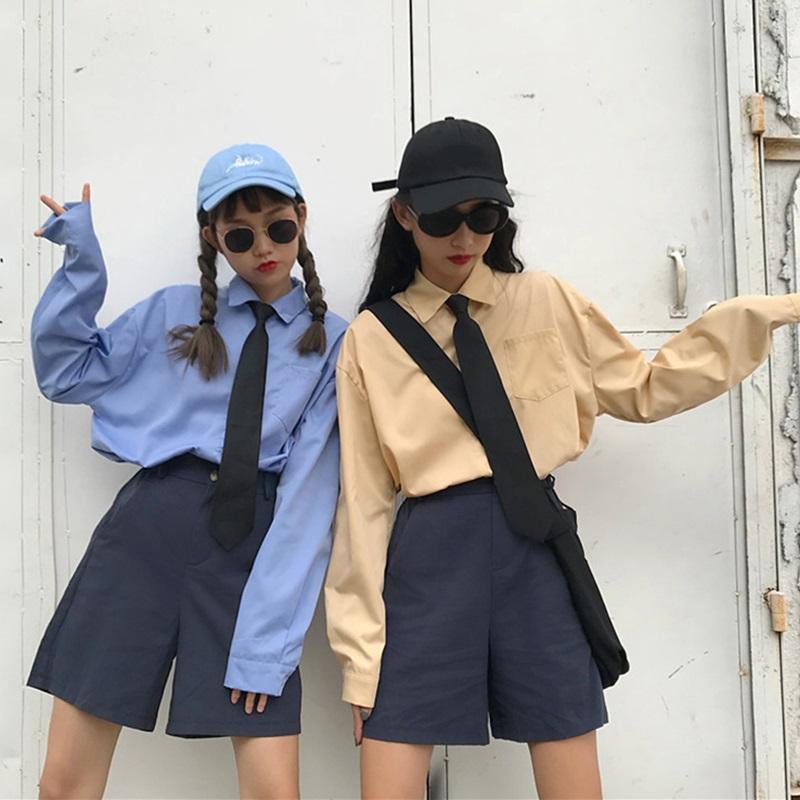 怪味少女早秋新款复古chic长袖衬衫配领带+高腰短裤学生两件套装
