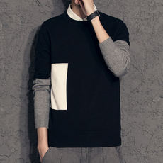 Autumn new fake two sweater male Korean version of the pullover shirt winter plus velvet shirt collar men's sweater tide
