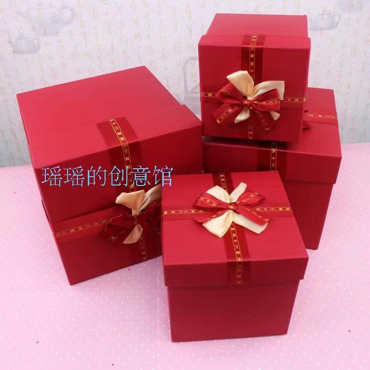 圣诞节糖果礼盒大号正方形正方体红色婚庆礼品盒蝴蝶结礼物包装盒