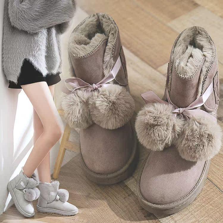 雪地靴学生9大童10冬季一鞋两穿女靴13毛毛靴甜美16少女加绒短靴