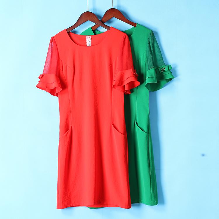 汉派 博系列 夏装新品 通勤款~纯色弹力舒适中长连衣裙085