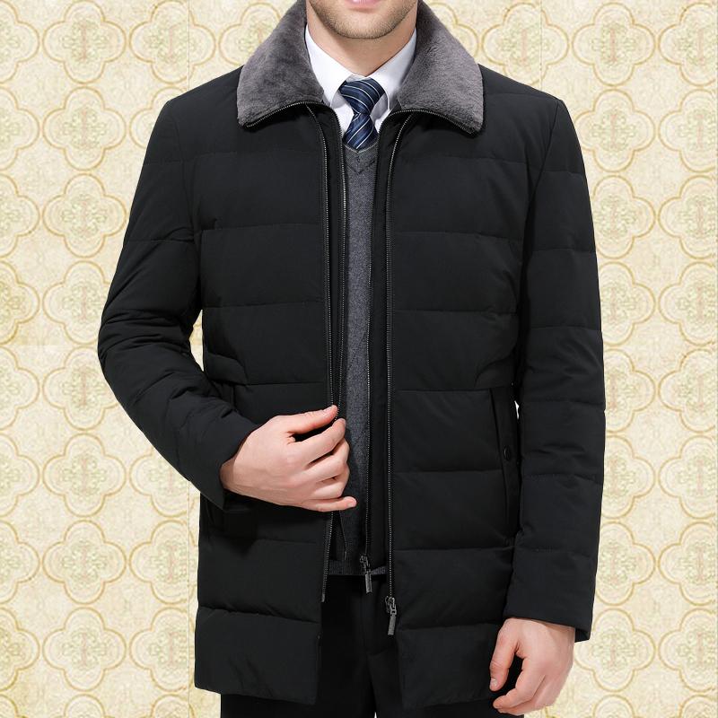 冬装步森品牌男士羽绒服中年商务休闲白鸭绒加厚男装大码高档外套图片