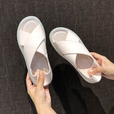 Leather sandals women's shoes 2019 new ins tide summer fairy wind wild fashion soft bottom flat slip pregnant women