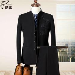 刺绣西装男套装修身西服三件套主持人新郎服装结婚礼服青少年韩版