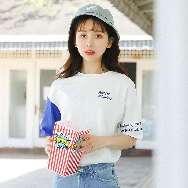 纯棉拉架大版型海洋撞色宽松短袖T恤女实拍2019夏季学生女装上衣