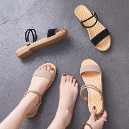 简约一字带仙女鞋2018夏季新款韩版百搭一鞋两穿网红平底女士凉鞋