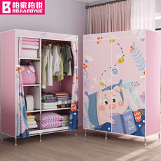 Simple wardrobe single small dormitory assembly closet household steel cloth cloth wardrobe economic fabric hanging wardrobe