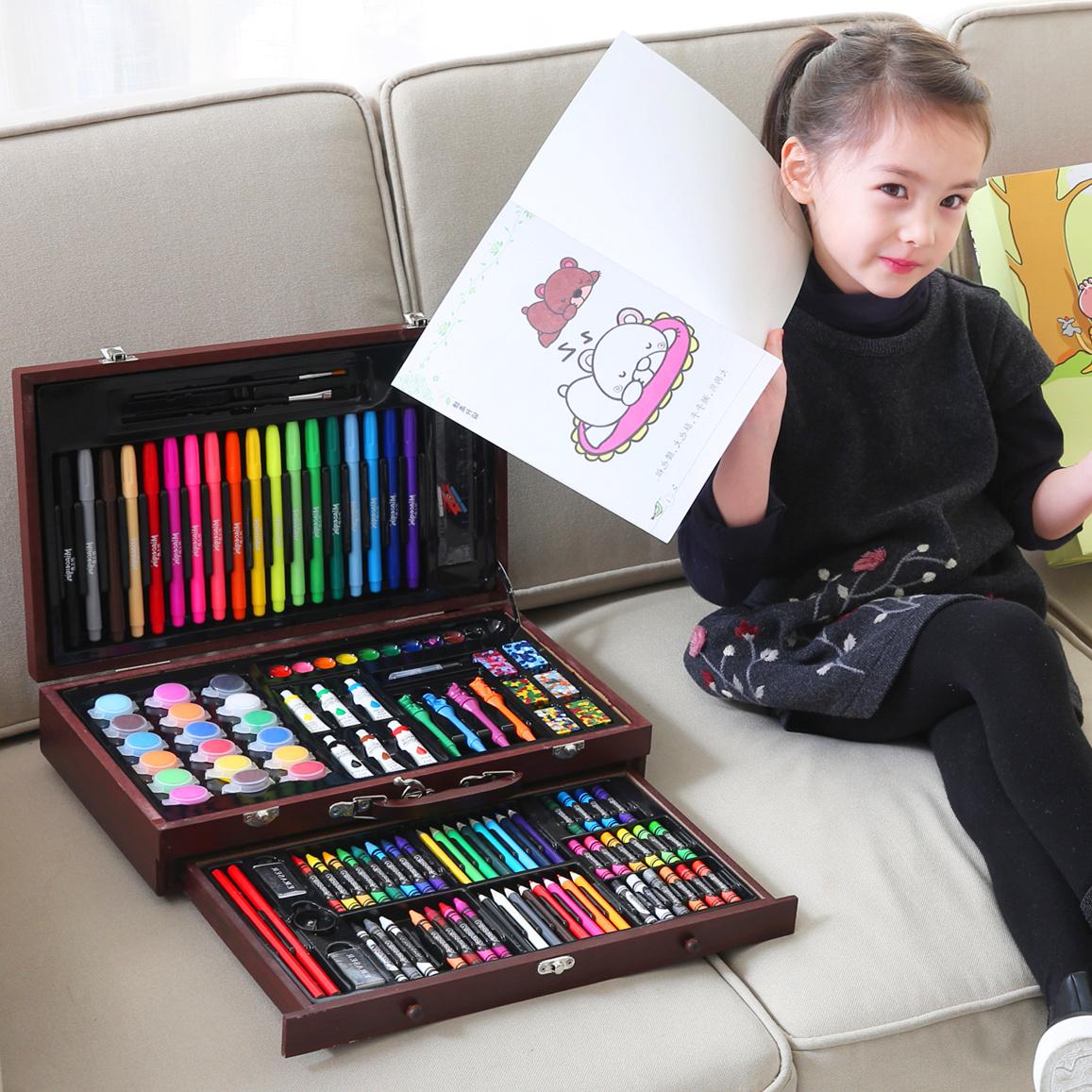 儿童画画笔绘画套装小学生水彩笔学习文具美术用品女孩生日礼物盒图片