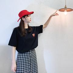 情侣装爱心t恤女不一样的情侣上衣可可里情侣装夏短袖百搭ins韩版