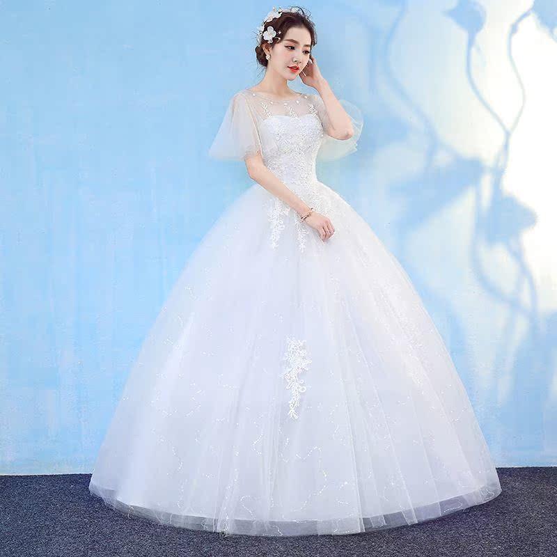 婚纱礼服一字肩泡泡袖显瘦公主大码齐地2018新款新娘结婚婚纱春季