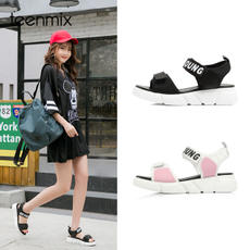 Tianmeiyi 2018 summer new counter with the same letter flat bottom casual female sandals AR281BL8