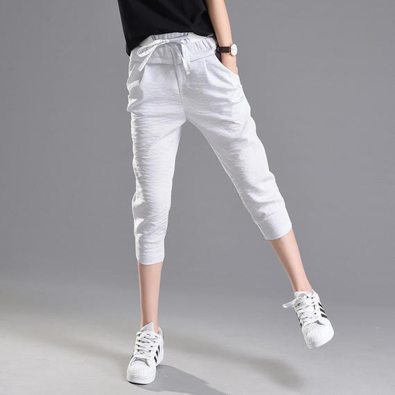 Thin section ice silk cotton pants female summer carrot pants Korean version of the beam feet seven pants casual sports pants loose harem pants
