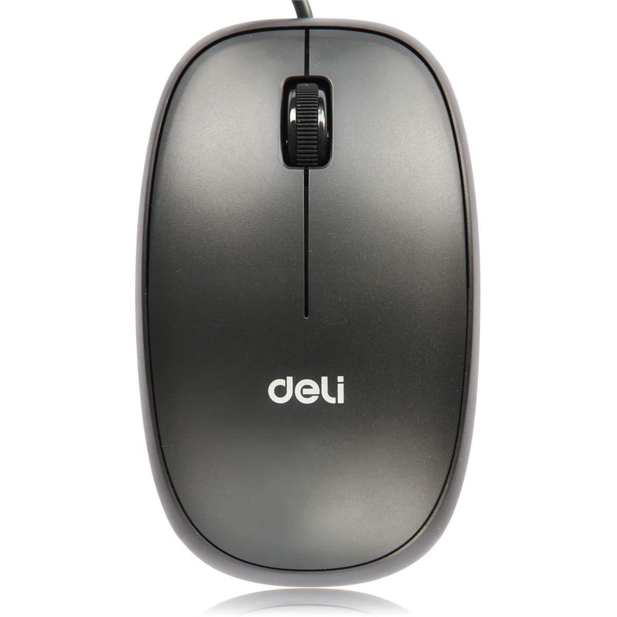 多省包邮 得力3715有线耐用办公鼠标 USB接口 300万次按键寿命