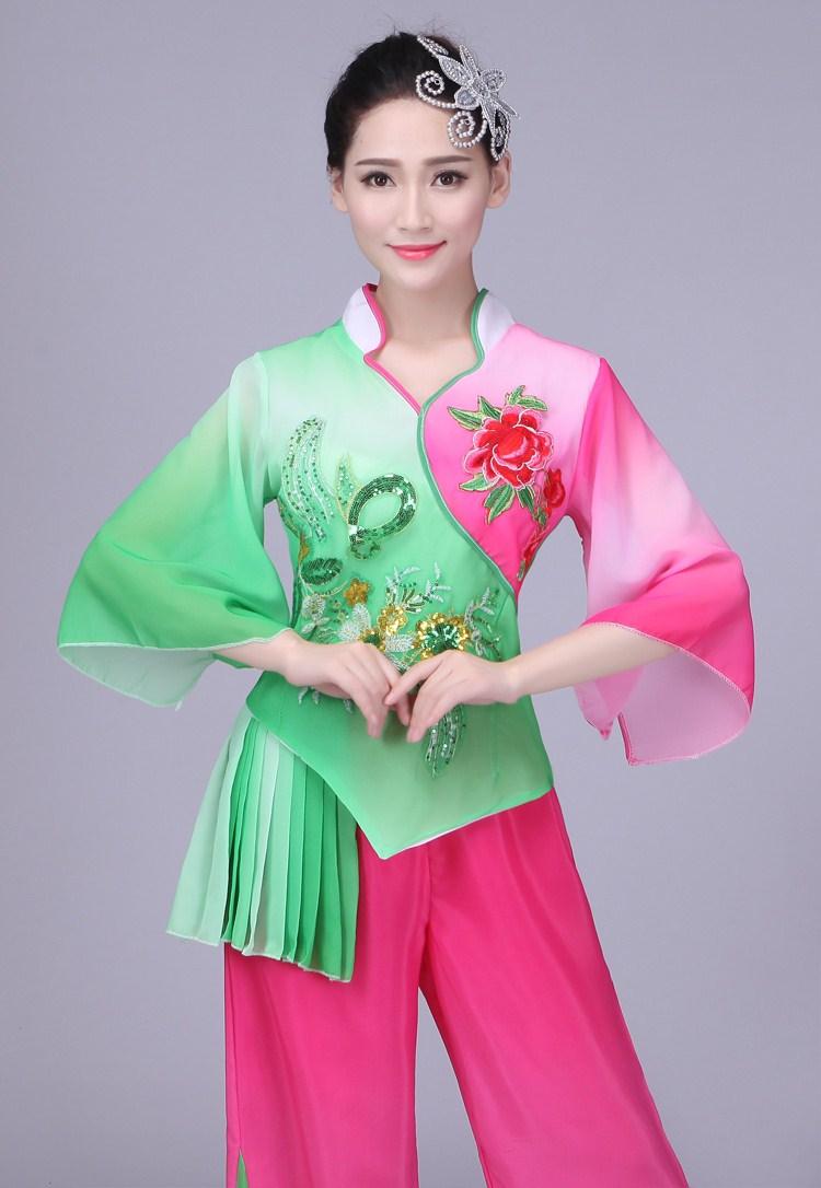民族秧歌舞蹈服装扇子舞古典舞台服中老年广场舞表演服2018新款女