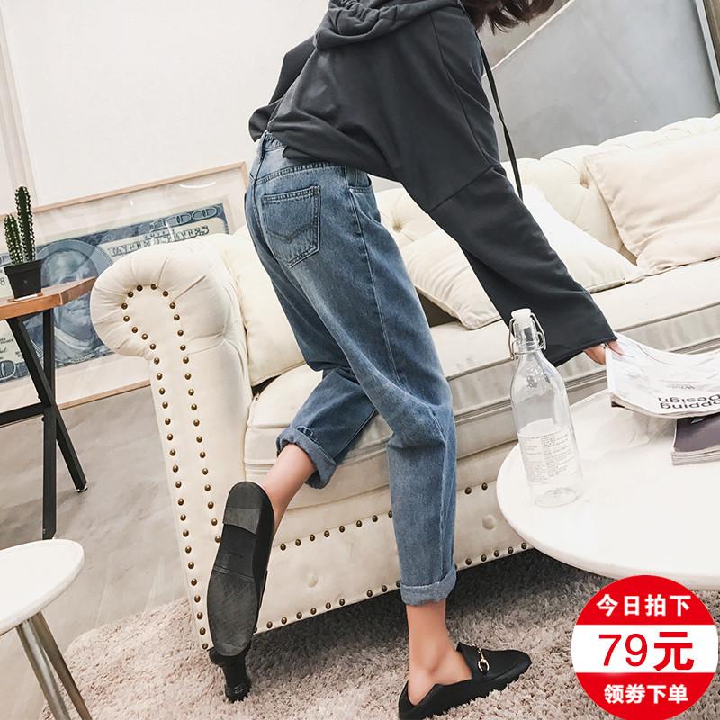 网红牛仔裤女宽松春装2019款女显瘦百搭直筒萝卜破洞高腰老爹裤