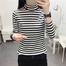 Autumn and winter clothing new Korean version of the Korean version of the semi-high collar long-sleeved T-shirt female stripes Slim embroidery love solid color bottoming shirt