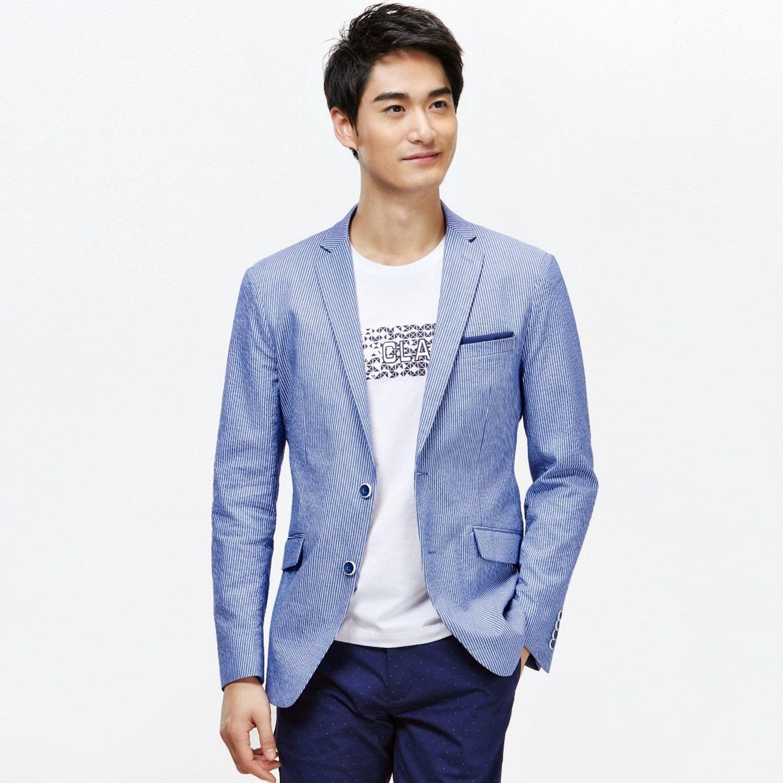 罗米欧男装秋季男士西装时尚条纹纯棉商务休闲便服单西外套A1N054