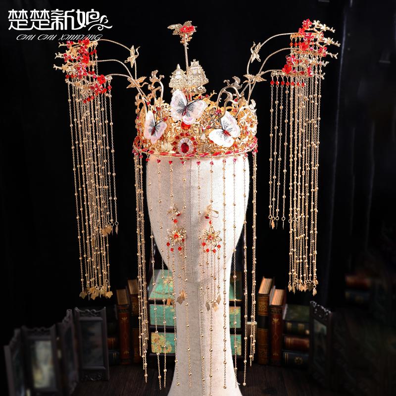 秀禾头饰新娘2019新款古装凤冠霞披 新娘 结婚中式礼服发饰配饰