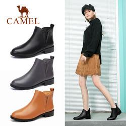 骆驼2018秋冬新款切尔西真皮短靴平底鞋子女英伦踝靴中跟粗跟靴子