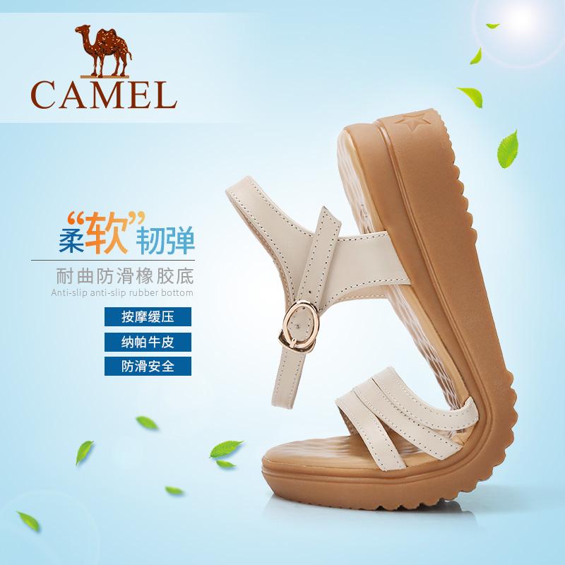 骆驼真皮女鞋2018新款中跟妈妈凉鞋女夏平底舒适坡跟孕妇简约百搭