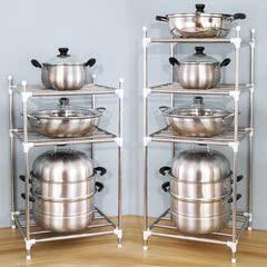 空间厨房置物架收纳多功能省家用不锈钢式落地储物多层放锅架神器