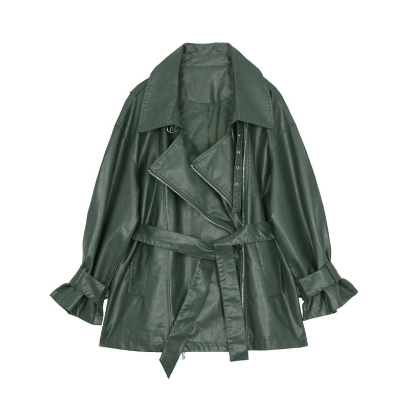 VEGA CHANG皮衣外套女秋2019新款韩版西装领绑带中长款休闲皮外套
