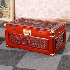 Camphor wood box wedding box dowry box solid wood red calligraphy and painting collection box storage box old wooden box Chinese style marriage