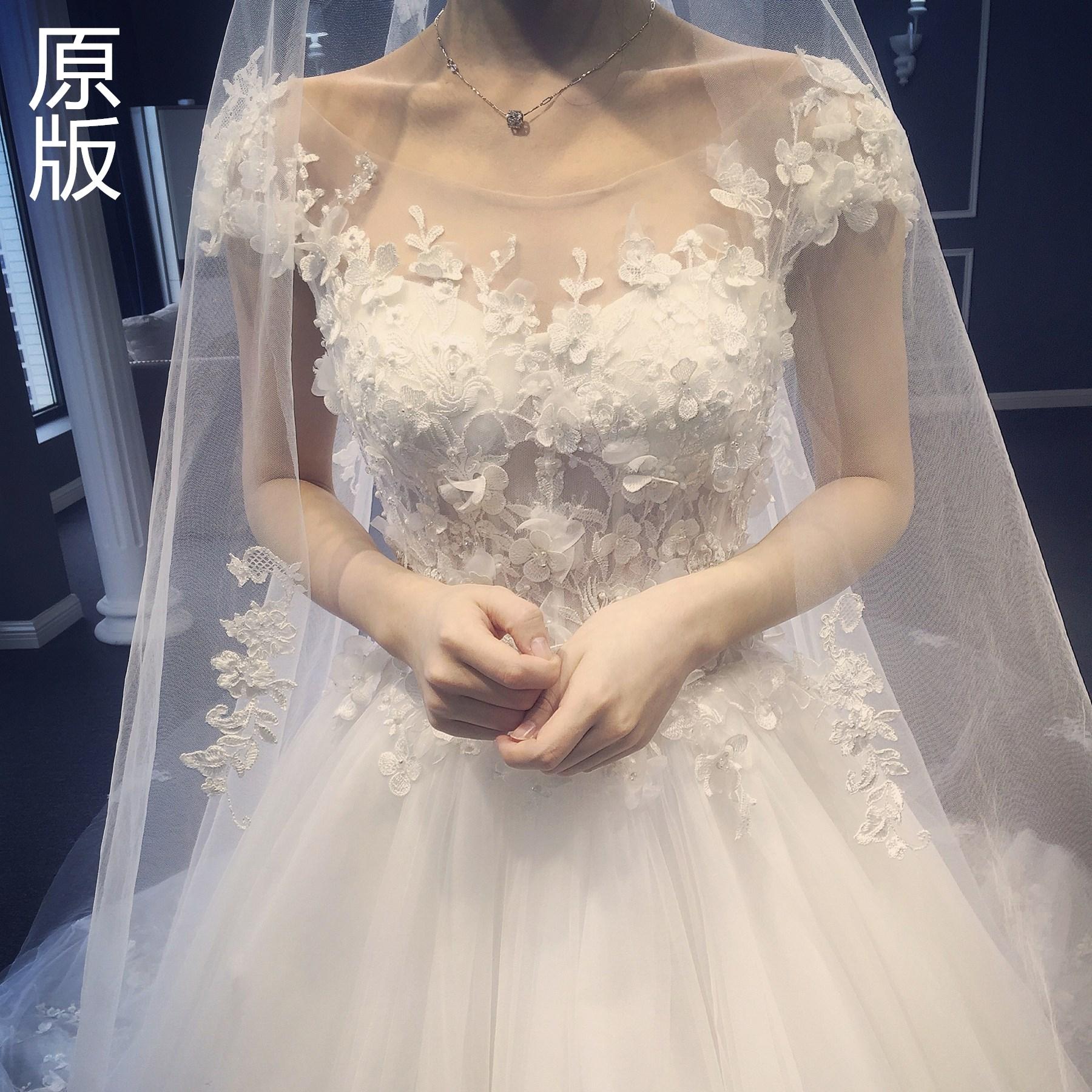 公主婚纱礼服2018新款花朵一字肩新娘结婚时尚修身大拖尾婚纱显瘦