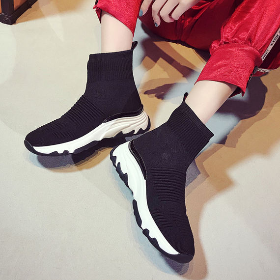 Ins super fire elastic socks shoes female high to help Korean version of ulzzang platform sports shoes women's tide aj women's shoes