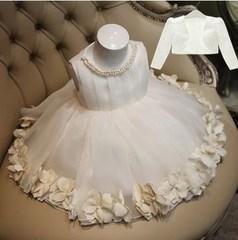 儿童礼服裙公主裙女童蓬蓬裙花童晚礼服白色婚纱演出服周岁春夏