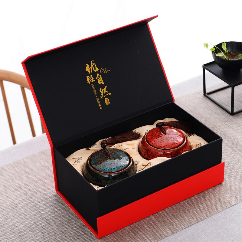 新品窑变陶瓷茶叶罐红绿茶普洱茶密封罐礼品送礼通用礼盒包装定制