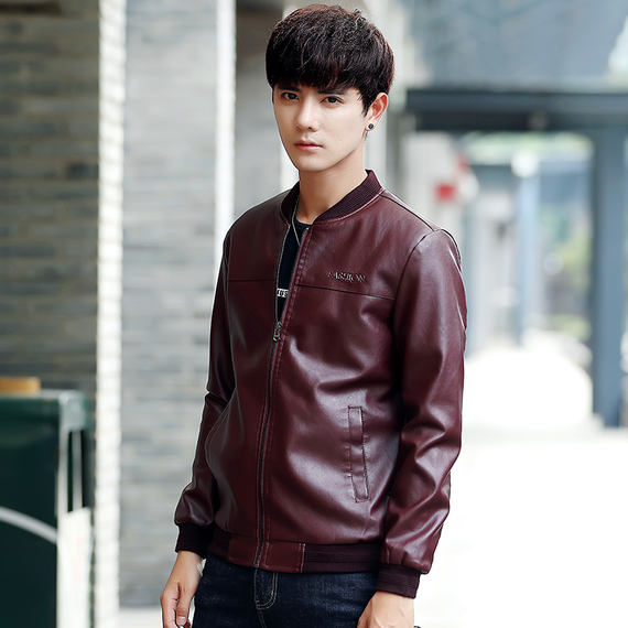 Autumn and winter 2018 new leather men's Korean casual jacket trend handsome leather jacket slim plus velvet shirt