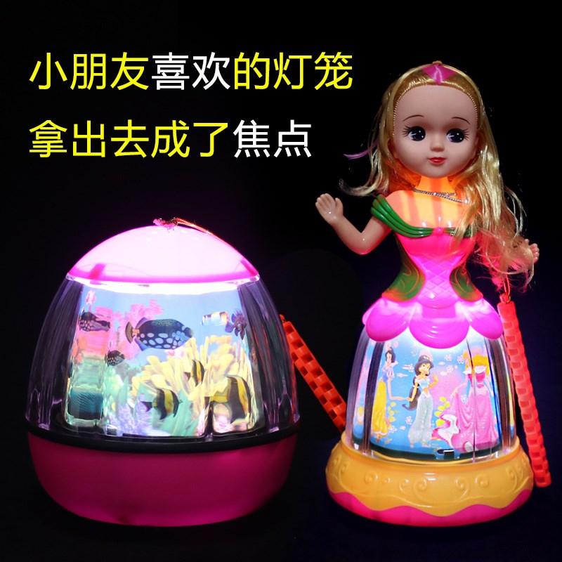 电动元宵玩具卡通小灯笼 炫彩儿童发光音乐手提灯笼 电动节花灯