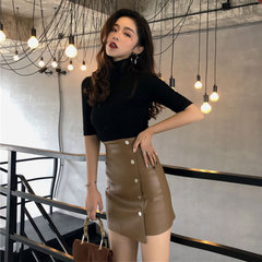 复古chic风早秋新款基础纯色半高领T恤高腰显瘦皮短裙时尚套装女